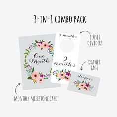 COMBO PACK INCLUDES: Floral Printable Nursery Closet Dividers Floral Printable Drawer Labels Floral Printable Monthly Milestone Cards  Save over 30%! Buying each item would cost $16, get all 3 for $10.99!  With this purchase you'll receive 8.5 x 11 inch printable PDF INSTANT DOWNLOAD of each item.  NO PHYSICAL PRODUCT WILL BE MAILED TO YOU. HOW IT WORKS: 1. Checkout + download the file 2. Print on your home printer or at a local copy/print shop 3. Cut along outside line 4. For Closet Div...
