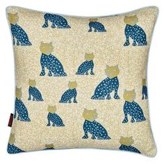 Graphic Leopard Pattern Printed Cotton Linen Cushion in White with Dark Petrol…