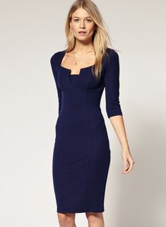 Buy Navy Scoop Neck Half Sleeve Body Conscious Dress from abaday.com, FREE shipping Worldwide - Fashion Clothing, Latest Street Fashion At Abaday.com