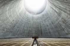 The view from inside an inactive cooling tower in France.  Photo by Reginald Van de Velde