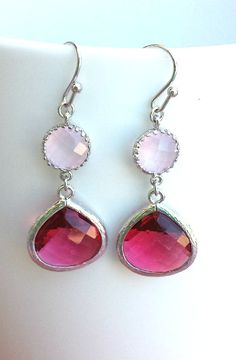 Fuchsia Pink Earrings, Drop Earrings, Dangle Earrings, Gemstone,Wedding Jewelry, Bridesmaid Earrings,christmas gift, cocktail jewelry on Etsy, $26.00