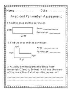 Area and Perimeter Math Center- includes 24 games cards (8 perimeter, 8 area, 8 mixed word problems). Also includes a double-sided assessment page.
