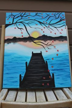 Cherry Blossom Pier Acrylic Sunset Painting by DannaLivingston, $45.00