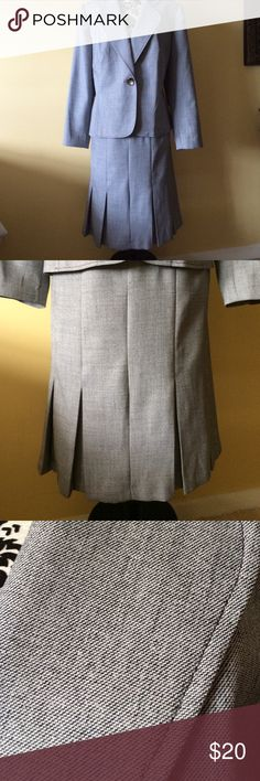 "Isabella 2 Piece Suit Beautiful gray/black tweed skirt and jacket. 100% polyester and fully lined. 4 box pleats in front and 4 in back. Skirt is 39"" around at waist and 26"" long. Jacket is 26"" long. The third close up pic is the true color. Like new condition. Isabella Dresses"