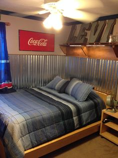 Love this room a good friend of mine designed and constructed. Teen Boys' room: industrial and coke, corrugated metal wainscoting