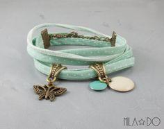 Mint fabric bracelet  Antiqued bronze butterfly di MiLaDo su Etsy