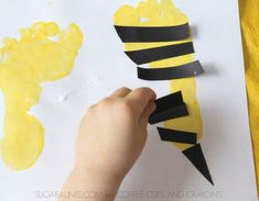 "Make a bee footprint kindness card with a saying, ""Thank you for Bee-ing my friend! Creative Activities For Kids, Creative Kids, Diy Crafts For Kids, Preschool Activities, Fun Crafts, Arts And Crafts, Kindness For Kids, Crafty Kids, Footprint"