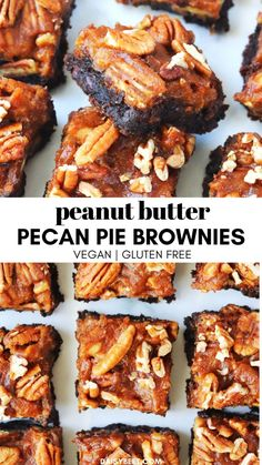 Jump to Recipe·Print Recipe These ooey-gooey peanut butter pecan pie brownies taste like a decadent treat, but they are made. Vegan Pecan Pie, Pumpkin Pecan Pie, Pumpkin Spice, Healthy Brownies, Gluten Free Brownies, Pie Brownies, Butter Pecan Cookies, Natural Peanut Butter, Vegan Dishes