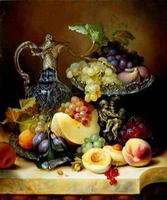 Paint by Number Kit Fruit Tray with Victorian Vase, Grapes, Plums, Peaches, Canalope. Paint by Number Kit Fruit Tray with Victorian Vase Grapes Plums Peaches Canalope. by OurPaintAddictions Victorian Vases, Plums And Peaches, Still Life Fruit, Mosaic Pictures, Acrylic Paint Set, Painted Cups, Fruit Painting, Paint By Number Kits, Painting Still Life