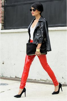 Leather pants street style in  red