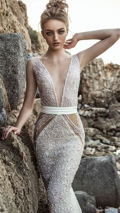 danny mizrachi 2018 bridal sleeveless deep plunging v neck full embellishment glamorous sexy sheath wedding dress open back chapel train (16) zv -- Dany Mizrachi 2018 Wedding Dresses