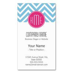 2291 best monogram business card templates images on pinterest magenta pink monogram with light blue chevron business card colourmoves