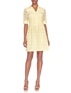 For the yellow eyelet dress by independent dressmaker worn in Tuvalu Eyelet Shirtdress THE LIMITED