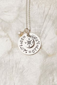 Coordinate Necklace, Compass Necklace, Hand Stamped Coordinate Necklace (Put special coordinates in, like home. No matter where you are in the world, you'll always be able to find your way home)
