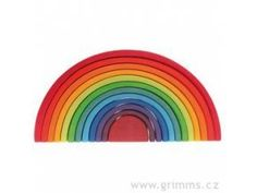 This vibrant rainbow can be stacked, separated and combined with other toys to your little ones' satisfaction. This adaptivity encourages imaginative play and exploration. Set of 12 pieces. Handcrafted in Germany using sustainable wood and non-toxic dye… Arco Iris Waldorf, Grimms Rainbow, Childrens Shop, Wooden Rainbow, Creative Play, Learning Toys, Building Toys, Fine Motor Skills, A Boutique