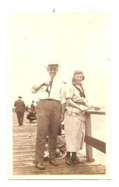 Vintage Photo Man Woman Fishing Dock Tiny by americathebeautiful