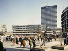 Das Europa-Center on the morning of its 2 April inaugural opening, as seen from the Kurfürstendamm, East Berlin, East Germany, 1965, photograph by Rolf Koehler.