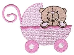 FREE! Bear in Pram, Filled - 4x4 | FREE | Machine Embroidery Designs | SWAKembroidery.com