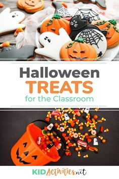 A collection of tasty Halloween treats for the classroom. Whether you are the teacher making the treats or the parent tasked with making them for your child to bring to the Halloween party, these treat ideas won't disappoint. Halloween Themed Food, Halloween School Treats, Halloween Party, Fun Classroom Games, Classroom Snacks, Halloween Activities For Kids, Halloween Costumes For Kids, Kid Activities, Healthy Party Snacks