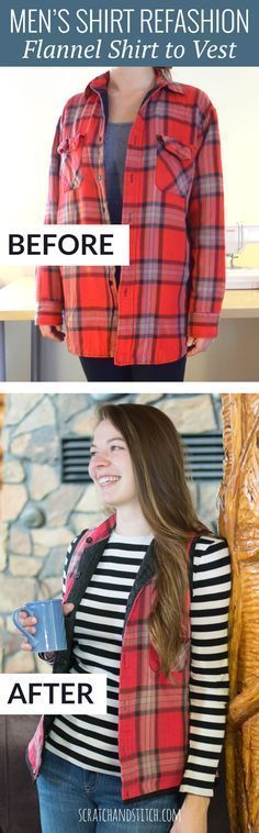 Las camisas viejas pueden resultar un lindo chaleco. #recicla #ropa #proyecto