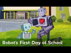 Today is the first day of school for Robot. He has math class, art class, and recess today, but he's never done any of them before. Online Books For Kids, Books Online, First Day Of School, Back To School, People Videos, Little Golden Books, Zimmerman, Great Videos, One Day