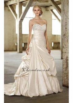 Satin Asymmetrical Pickups Skirt Beaded Wedding Dress