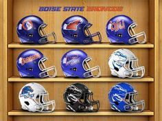 Boise State Football helmets collection. Past to Present.