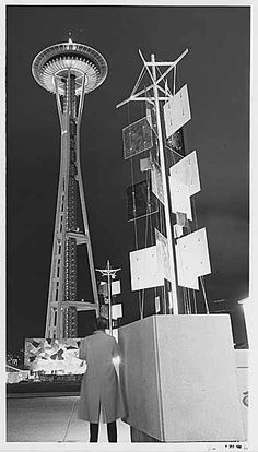 Space Needle and Sculptures, Seattle World's Fair, 1962