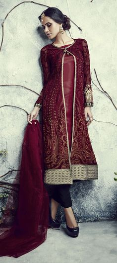 C53$ - Red and Maroon color family semi-stiched Party Wear Salwar Kameez.
