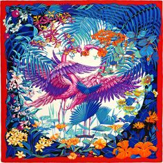 2015 S/S | Flamingo Party | Shawl in cashmere and silk (140 x 140 cm) | Ref. : H242898S 13 Rouge Vif/Blanc/Bleu