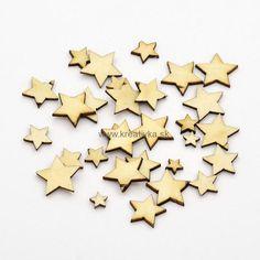 Drevené výrezy hviezdičky, 100ks, 6-14x1mm