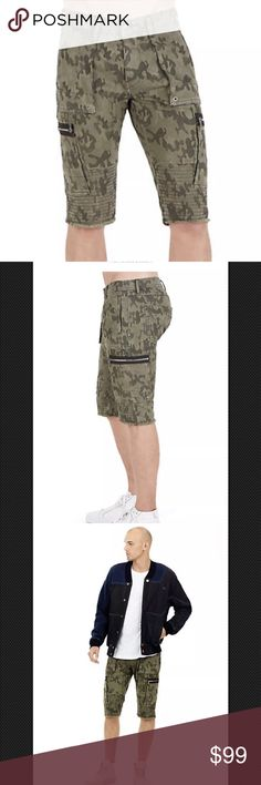 5a411ee57d6 True Religion Camo Touring Moto Short Green An edgy cargo short featuring  exposed zippers and moto