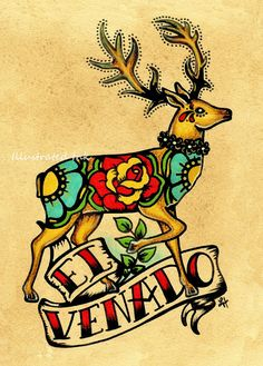 Mexican Folk Art Deer EL VENADO Loteria Print 5 x 7 via Etsy