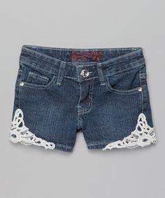 Dark Wash Lace Denim Shorts - Girls | zulily