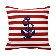 Reversible Red Blue Nautical Anchor Throw Pillow Accent Cushion Beach Decor