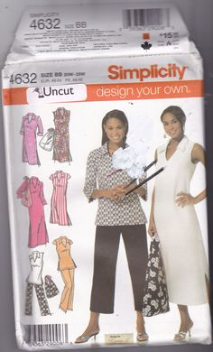 Uncut, factory folded Simplicity pattern 4632 Copyright 2005 Sizes 20W 22W 24W 26W 28W (bust 42 44 46 48 50) I bought this pattern secondhand.