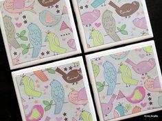 Bird Coasters Tile Coasters Coasters Birds Coaster by KimLKrafts