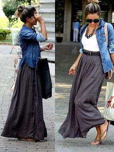 Gorgeous flowing grey maxi skirt dressed casually w/ white tank, sandals, and Jean button up thrown on top.