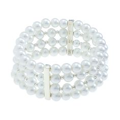 Pearl 4-Strand-Cream Bracelet, Perfect for Brides. Wrap your wrist in elegance with four strands of classic faux pearls. Pairs perfectly with that little black dress in your closet. Pearl Collection  •  Black or silver tone, faux pearl  •  Elastic band  https://myfashions.graceadele.us/GraceAdele/Buy/ProductDetails/10204
