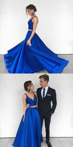 two piece prom dresses,royal blue prom dresses,2 piece prom gowns,satin evening dress H01437