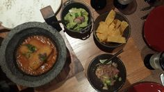 Molcajete (melted cheese in a volcanic stone, morita chilli sauce), homemade tortillas, guacomole @ Tortuga Mexican Restaurant, Mina A'Salam, Madinat Jumeirah, Dubai