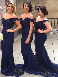 Mermaid Off Shoulder Court Train Lace Navy Blue