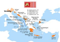 Map of territories of the Republic of Venice, and when they were under Venetian control. Republic Of Venice, The Republic, Thessaloniki, Dna Genealogy, Indian Language, European History, Modern History, City State, Historical Maps