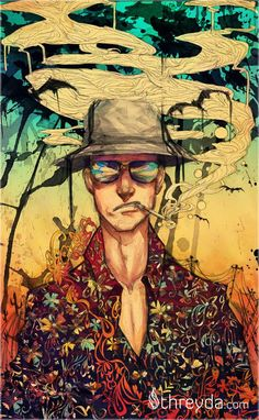 Hunter S. Thompson in Fear and Loathing in Las Vegas Fear And Loathing, Art And Illustration, Dope Kunst, Hunter Thompson, Arte Dope, Pop Art, Arte Hip Hop, Hunter S, Le Far West