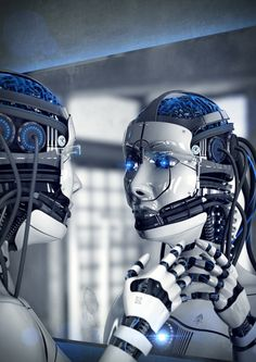 """At this stage in time most robots are emotionless and it's hard to picture a robot you can actually have a good conversation with. Futuristic Art, Futuristic Technology, Blade Runner, Female Cyborg, Steampunk, Intelligent Technology, Artificial Intelligence Technology, Arte Robot, Sci Fi Armor"