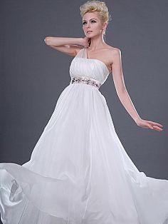Stunning Sheer One Shoulder Flowing Wedding Dress Features Jeweled Waist