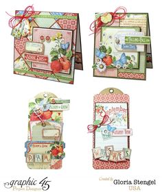 Gloria Scraps - Today is World Card Making Day, so what better way to celebrate than with some Graphic 45 cards?! I am sharing the Graphic 45 Time to Flourish September class project sheet with you today on my website.