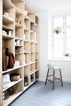 Open shelving in this small kitchen keeps everything neat, yet easy to find. The shelves are light in color, so they don't make the room fell cramped. Plywood Shelves, Bookshelves, Plywood Storage, Plywood Floors, Ceiling Shelves, Bookshelf Diy, Plywood Furniture, Diy Furniture, Furniture Design