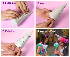 Try making this Wear-with- Flair Rainbow Prancer Unicorn Horn!