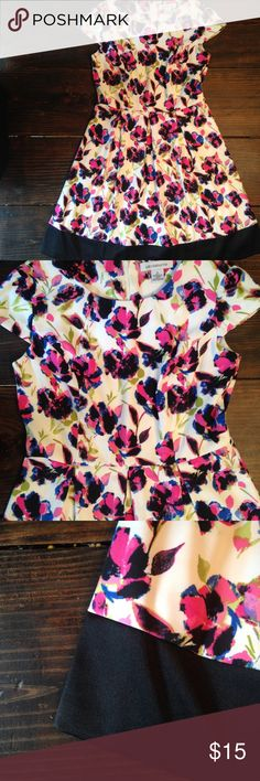 NEW Liz Claiborne work/party floral dress This dress is adorable!! I've only ever tried on, never worn it anywhere. It has princess seams at bust and box pleats at the waist. Belt loops but doesn't come with a belt. A thick black silky hem completes the look! ❤️ Liz Claiborne Dresses